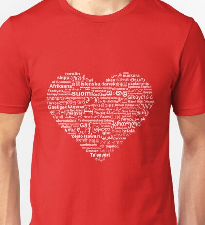 Love of Languages, White on Red Unisex T-Shirt