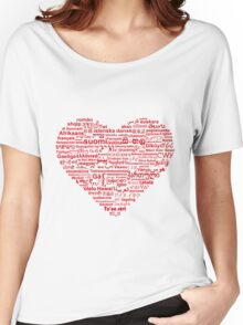Love of Languages, Red on White Women's Relaxed Fit T-Shirt