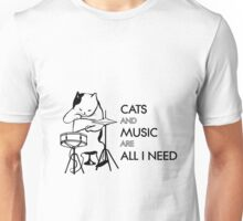 Cats and music are all I need Unisex T-Shirt