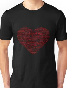 Love of Languages, Red on Black Unisex T-Shirt