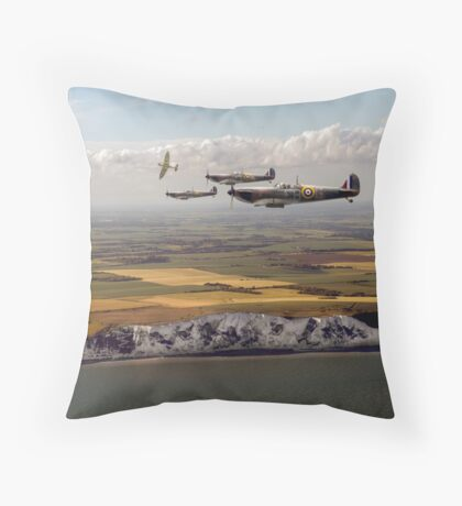White Cliffs Spitfires Throw Pillow