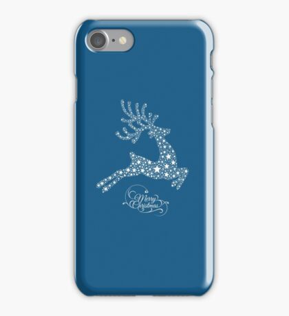 Christmas Reindeer Illustration filled With White Stars iPhone Case/Skin