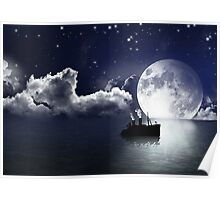Ship Sailing on Ocean Water Poster