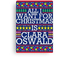 All I Want For Christmas is Clara Oswald - Blue Spangle Canvas Print