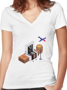 Old Nintendo Women's Fitted V-Neck T-Shirt