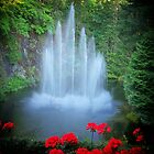 BUTCHART GARDENS WATERFALL by JeannieLagorio