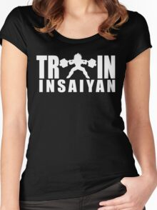 TRAIN INSAIYAN - Vegeta Squat Silhouette (White Print) Women's Fitted Scoop T-Shirt