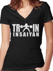 TRAIN INSAIYAN - Vegeta Squat Silhouette (White Print) Women's Fitted V-Neck T-Shirt