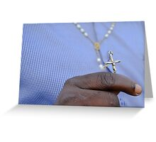 man and crucifix Greeting Card