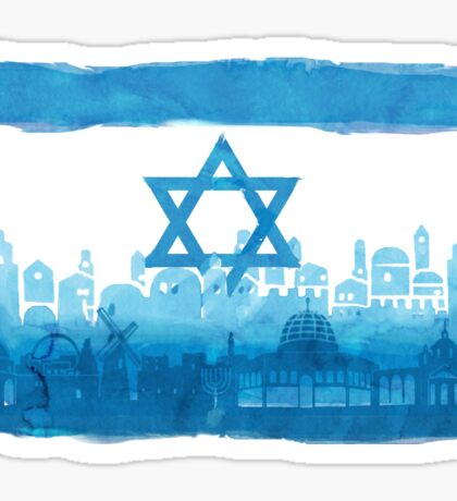 Israeli Flag & City skyline - watercolor Sticker