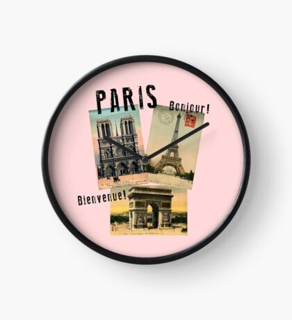 Paris Eiffel Tower Postcard Clock