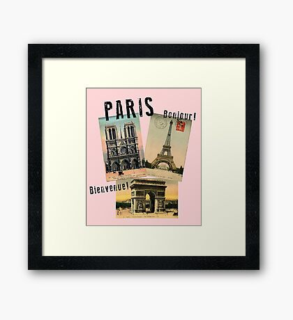 Paris Eiffel Tower Postcard Framed Print