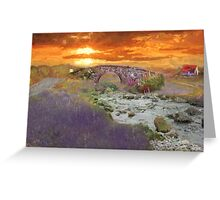 English Countryside Sunset Impressionist Greeting Card