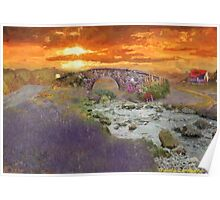 English Countryside Sunset Impressionist Poster