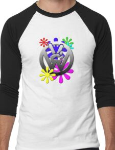 VW Peace hand sign with flowers Men's Baseball ¾ T-Shirt