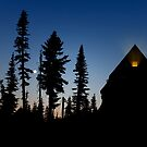 Sunrise Over Paradise Inn Hotel At Mt. Rainier National Park. by Alex Preiss