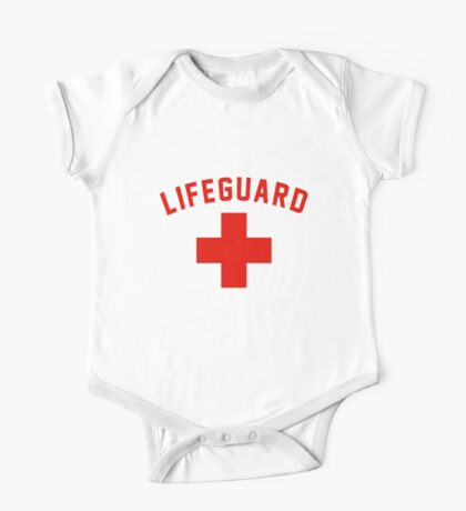Lifeguard White Gray Black Swimming Pool One Piece - Short Sleeve