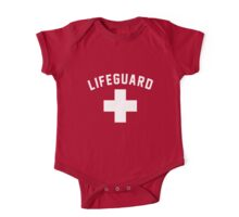 Lifeguard Red Swimming Pool One Piece - Short Sleeve