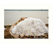 boat with nets on the lake Art Print