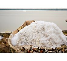 boat with nets on the lake Photographic Print