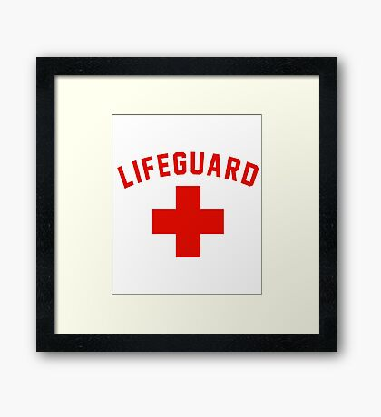 Lifeguard White Gray Black Swimming Pool Framed Print