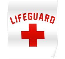 Lifeguard White Gray Black Swimming Pool Poster