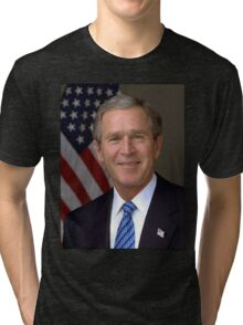 George W Bush American President Tri-blend T-Shirt