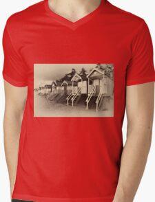 Wells beach huts in sepia Mens V-Neck T-Shirt