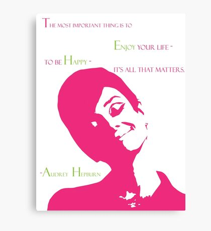 The Beautiful Audrey in Pink Canvas Print