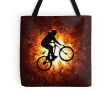 Digitally enhanced image of a bicycle stunt  Tote Bag