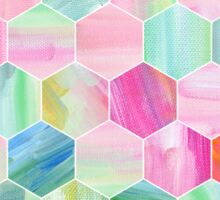 Pretty Pastel Hexagon Pattern in Oil Paint Sticker