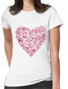 yum yum_ heart with pastry_pink Womens Fitted T-Shirt