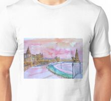 Sevilla Spanien Plaza Espana bei Sonnenuntergang Unisex T-Shirt