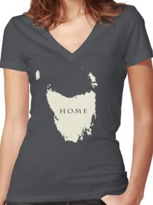 Map of Tasmania  Women's Fitted V-Neck T-Shirt