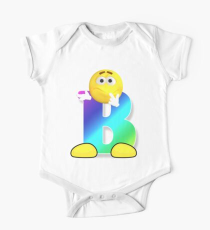 Letter B Alphabet Smiley Monogram Face Emoji Shirt for Men Women Kids One Piece - Short Sleeve