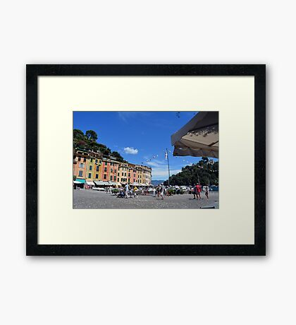 PORTOFINO, ITALY - August 6, 2016: Picturesque harbor of Portofino, an Italian fishing village, Genoa province, Italy. A vacation resort with celebrity and artistic visitors. Framed Print