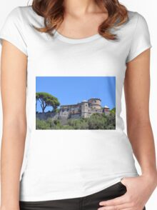 Old stone fortress in Portofino, Italy Women's Fitted Scoop T-Shirt