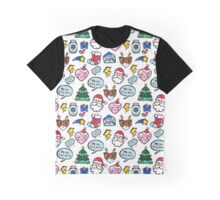 Christmas seamless pattern with cute comic icons. Graphic T-Shirt