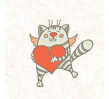 a cat with a heart Photographic Print