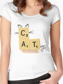 Cat Scrabble Women's Fitted Scoop T-Shirt
