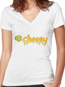 Cheesy Pickle Melted Typography Word Art Women's Fitted V-Neck T-Shirt