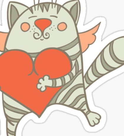 a cat with a heart Sticker