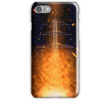 Digitally enhanced image of a High voltage power lines and pylon  iPhone Case/Skin
