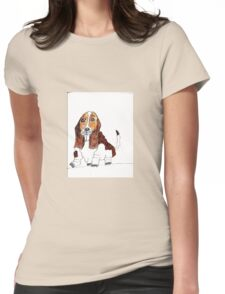 Lonely Basset Hound Womens Fitted T-Shirt
