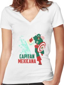 Capitan Mexicana Cool Sarcastic Funny America Captain Graphic Artistic Design Women's Fitted V-Neck T-Shirt