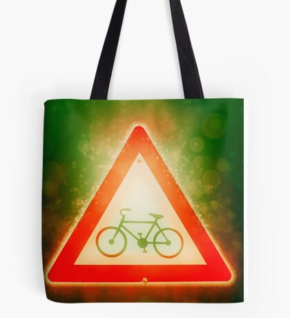 Israel, Bicycle caution road sign on white background Tote Bag