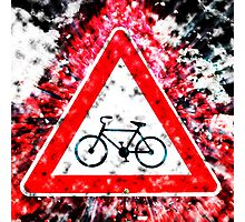 Israel, Bicycle caution road sign on white background Photographic Print