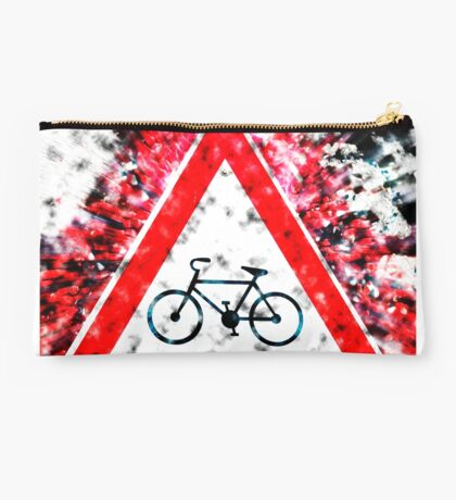Israel, Bicycle caution road sign on white background Studio Pouch