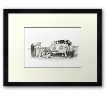 Travel and adventure with a historic car. Framed Print