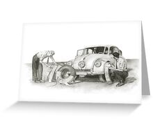 Travel and adventure with a historic car. Greeting Card